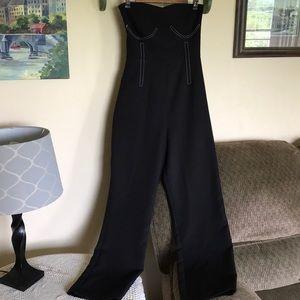 Topshop women's sz 10 jumpsuit strapless euc